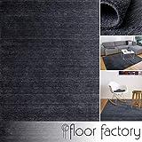 floor factory Gabbeh Teppich Karma anthrazit grau 200x200 cm - handgefertigt aus 100% Schurwolle