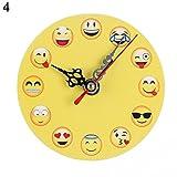 Pengyu Creative Funny Cartoon Emoji-Runde Wanduhr Wohnzimmer Schlafzimmer Home Decor, holz, 4#, Einheitsgröße