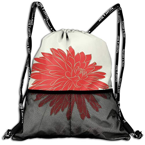 RAINNY Drawstring Backpacks Bags,Sketching of A Colossal Dahlia Blossom Retro Style In Blood Red Colored Single Flower,5 Liter Capacity,Adjustable -