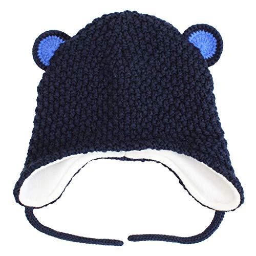 abc9a09b1db3da Langzhen Bébé Bonnet Hiver Chaud en Coton Tricoté Beanie Chapeau Earflap  Protection Oreille Bonnet de Ski