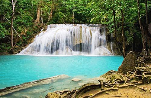 Bilderdepot24 Fototapete selbstklebend Erawan Wasserfall - Thailand - 230x150 cm - Designtapete Wandbild Wohnzimmer - Dschungel Pflanzen tropisch