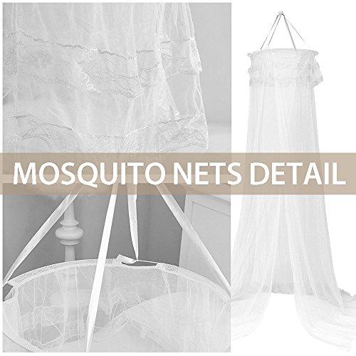 Moskitonetz, Samione Moskitonetz Fliegennetz Mückennetz Insektennetz Spitze Betthimmel Moskitonetzen Rund Moskitonetz für Einzel - oder Doppelbetten Indoor or Outdoor Travel (Weiß) - Bild 6