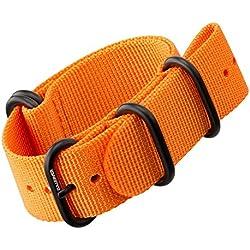 Nylon Watch Strap by ZULUDIVER®, IP PVD Black ZULU Buckles, Orange, 22mm