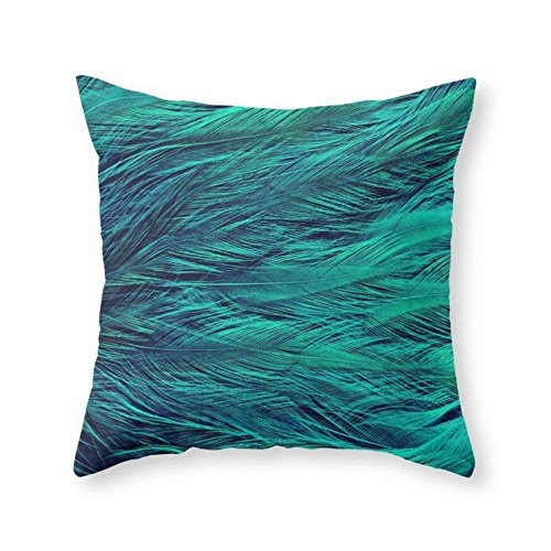fengxutongxue Teal Feathers Throw Pillow Indoor Cover (18