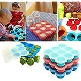Umigal bebé alimentos contenedor de almacenamiento para congelar alimentos para bebés para el destete | 2colores | libre de BPA y aprobado por la FDA | 9x 75ml perfecto parte tamaños