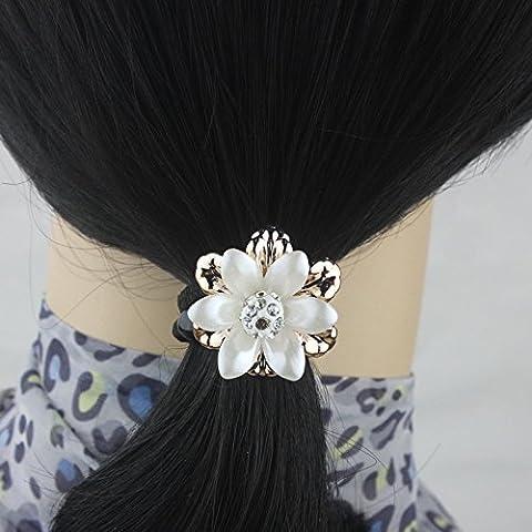 5pcs / lot Fleur élastique corde cheveux Couvre-chef Elastiques femmes Ponytail Holder pour Accessoires