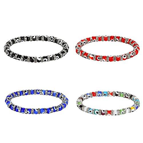 Cupimatch 4Pcs Armband Damen Herren Set Strass Perlen Beads Armreif Gummizug Böse Augen Armkette, Rot Schwarz Blau Farbig