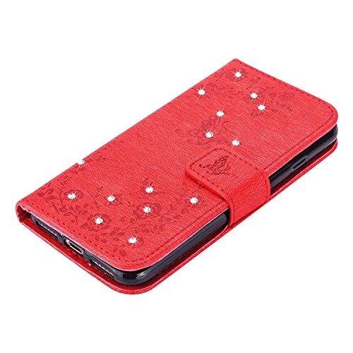 """MOONCASE iPhone 7 Hülle, Premium Leder Schutzhülle [Blumen Schmetterling Serie] PU Leder Flip Handyhülle Tasche Case für iPhone 7 (4.7"""") Grün Rot"""