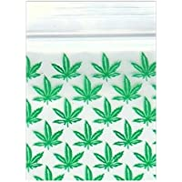 """Bolsas de plástico con cierre de cremallera, 200 – 1"""" x 1 pulgada, diseño de hoja de marihuana con logotipo de 2 mil"""