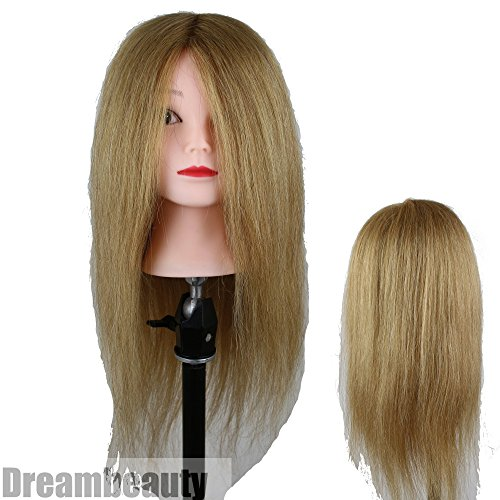 Eseewigs Light Brown Real Human Hair Manikin Head for Styling Perming Coloring