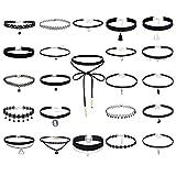 Floweralight 1-25 Stück Halsbänder Halskette aus Choker Samt Choker Set Schnürsenkel PU Choker Halsband