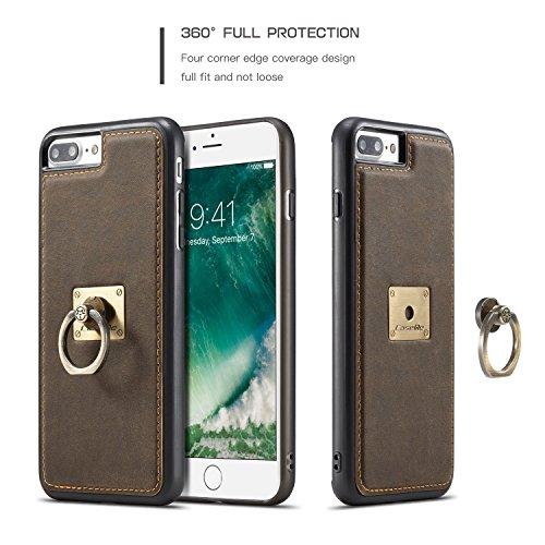SDDMALL CaseMe Fall mit 360 drehendem Finger-Ring-Standplatz-Entwurf und magnetischer rückseitiger Abdeckung für Apple iPhone 7 plus 5.5Inch ( Color : Brown ) Coffe