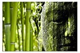 BILD AUF LEINWAND BAMBUSWALD BUDDAH living A04184 DEKOR Größe wählbar, gerahmt auf echtem Keilrahmen. Günstiger als Ölbild Gemälde Poster Plakat mit Bilder 90 x 60 cm