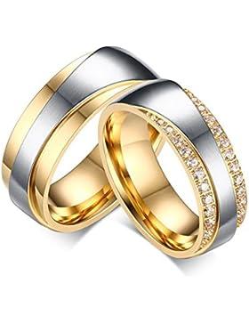 Bishilin 2 Pcs Edelstahl Paar Ring Edelstahlring Hochglanzpoliert Zirkonia Rund Breite 7MM Verlobungsring Gold...
