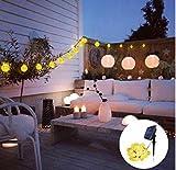 Solar Lichterkette Außen mit LED Kugel 6m 30LED Warmweiß Außenlichterkette Wasserdicht mit Lichtsensor Weihnachtsbeleuchtung Beleuchtung für Weihnachten [Energieklasse A++]