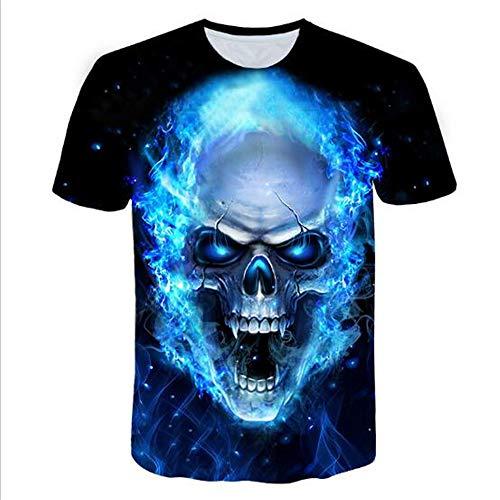 Sommert-shirtMännersommer-beiläufige Tarnungs-Druck-mit Kapuze ärmelloses T-Shirt Spitzenweste,3D-Druck seltsam blau 4XL
