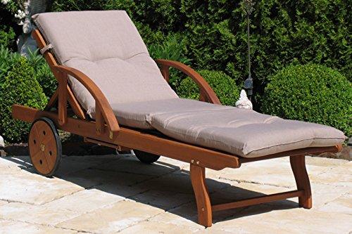 Grasekamp Gartenliege mit Kissen Sand Holz Liege Sonnenliege Relaxliege