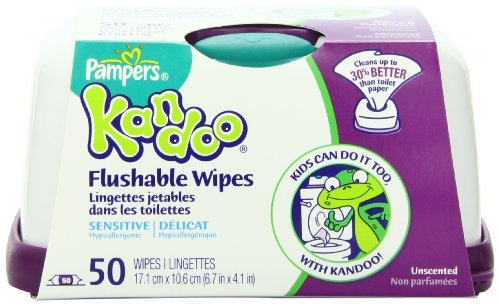 Pampers Kandoo Flushable Toddler Wipes Sensitive Tub – 50 Ea 51K18m3YoIL