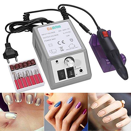 Cadrim Elektrisch Nagelfräser Fräser Nagelfeile Maniküre Set Plus 6BITs und Schleifhülsen mit geringem Rauschen und Vibration …