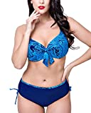 Damen High Waist Bikini Set Push up Zweiteiliger Bikinis Große Größen Badeanzug Bademode Saphirblau 50