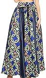 Sakkas W17617 - Monifa Long Maxi Skirt Jupe Africaine Africaine Multicolore en Cire d'Ankara Magnifique - 14-BlueGreenMulti - OS