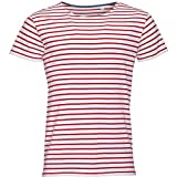 Sols Herren Miles T-Shirt, gestreift, kurzärmlig (L) (Weiß/Rot)