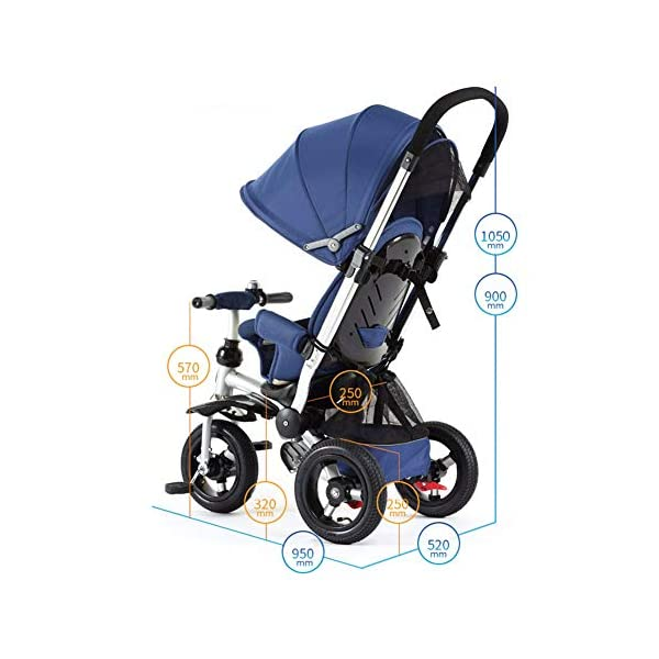 GSDZSY - 3 IN 1 Children Kids Tricycle, Seat Adjustable, Baby Can Sit Or Lie Flat, Push Rod Can Control The Direction, Rubber Wheel, 1-6 Years Old GSDZSY ❀ Material: High carbon steel + ABS + rubber wheel, suitable for children from 6 months to 6 years old, maximum load 30 kg ❀ Features: The push rod can be adjusted in height, the seat can be rotated 360, the backrest can be adjusted, the baby can sit or lie flat; the adjustable umbrella can be used for different weather conditions ❀ Performance: high carbon steel frame, strong and strong bearing capacity; rubber wheel suitable for all kinds of road conditions, good shock absorption, seat with breathable fabric, baby ride more comfortable 7