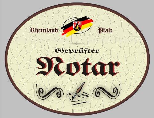 Holzschild Notar - Schild Rheinland-Pfalz (18 x 14 cm) (Notar Holz)