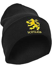 Mens Scotland Lion Design Embroidered Winter Beanie Hat