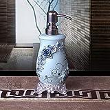 Jahrgang Seifenspender, Nachfüllbar Retro Oriental Industrial Blau Blumen Carving Natur Eco Harz Shampoo Liquid Hand Sanitizer Flasche Rapid Extrusion Für Küche Bad Waschbecken Dusche Hotel Restau