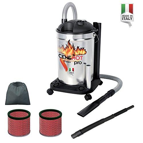 Aspiracenere elettrico cenehot pro aspirazione ceneri calde max 40°c 1200 w - 25 l con doppio filtro e lancia flessibile