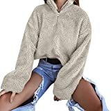 iHENGH Neujahrs Karnevalsaktion Damen Tops,Women Herbst Herbst Mode Fell Winter Warme Wolle ReißVerschluss Baumwollmantel Bluse Top