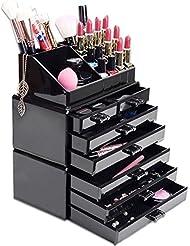 HBF Organisateur Maquillage Acrylique Noir Rangement de Maquillage Pinceaux…