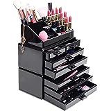 HBF Acrílico Negro Organizador De Maquillaje Multifuncional Organizadores Para Cosméticos Caja Para Organizar Pincel De Maquillaje Esmalte De Uñas Lápiz Labial Joyas(7 cajones+16compartimientos)
