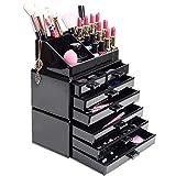 HBF Organizzatore Trucchi Acrilico Nero Porta Trucchi Organizer con 6 Piani e 7 Cassetti Beauty Make Up Grande Superficie Lisciato