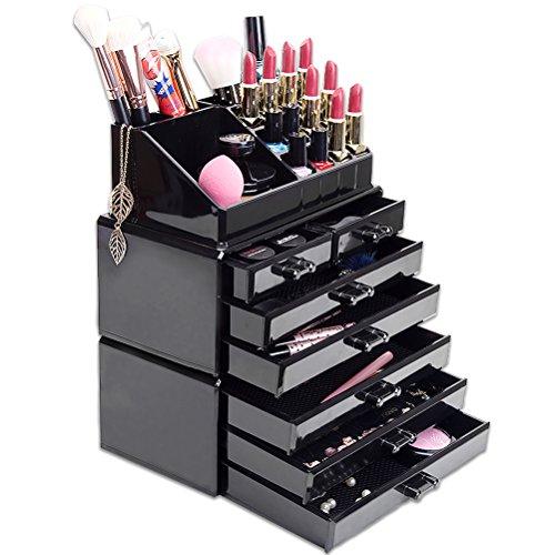 HBF XXL schwarz Acryl Make Up Organizer Kosmetik Aufbewahrung Organizer - 6 Ebenen 7 Schubladen Dicke von 5 mm aus transparentem Acryl von besonderer Qualität