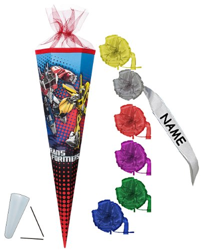Unbekannt Schultüte - Transformers Prime 22 cm - incl. individueller Schleife - mit / ohne Kunststoff Spitze - Tüllabschluß - Zuckertüte Nestler - für Jungen Transforme..
