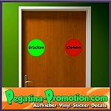 2 x Hochwertige Tür ziehen/drücken Aufkleber,freigestellt ohne Hintergrund, ca. 10 Durchmesser cm Zeichen Sticker Wohnungstür Tür Warnung Kennzeichen Beruf Haustür Schild
