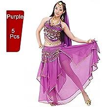 bellyqueen 5Pcs Vestido Danza del Vientre Trajes establece Indian Dance rendimiento las mujeres profesionales, morado