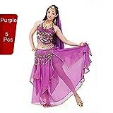 Traje profesional para danza del vientre / danza de la India de BellyQueen, conjunto de 5 piezas, para mujer, morado, talla única
