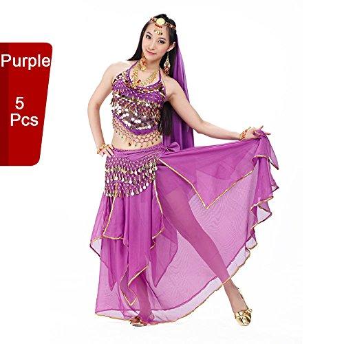 BellyQueen Tanz Kostüm Bauchtanz Kleid - Orientalischer Tanz Arabisch Sexy Professionelle Farbenreiche Kleidung Set Outfit für Tänzerin Damen - Chiffon - Schleier + Kopfkette + BH + Taillentuch + Rock - 5 Stück (Tanz-schleier)