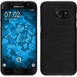 PhoneNatic Case für Samsung Galaxy S7 Hülle Silikon silber brushed Cover Galaxy S7 Tasche + 2 Schutzfolien
