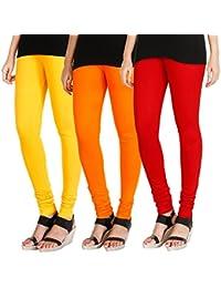 e242f649754ee HRINKAR® Soft Cotton Lycra Plain leggings for womens ankle length combo  Pack of 3 Size