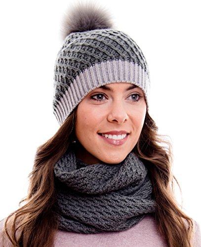 Hilltop Winter Kombi Set aus Winter Schal und passender Strickmütze / Bommelmütze mit Pompon / versch. Farben, Winter Set:4D-grau