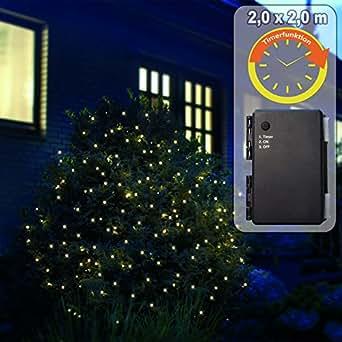 Batterie lichternetz 2 x 2 m mit 200 led warmwei und timer f r au en beleuchtung - Weihnachtsbeleuchtung mit batterie und timer ...