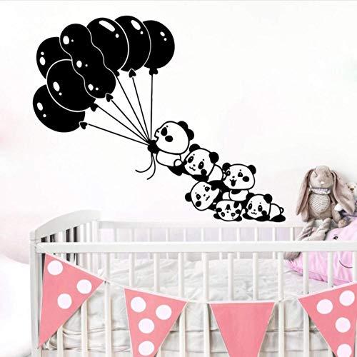 YANGSHUANG Wandaufkleber Große Cartoon Ballon Panda Wandtattoo Kindergarten Kinderzimmer Asiatischer Bär Panda Haustier Dschungel Tier BambusWandaufkleberSchlafzimmer Vinyl85x69cm -