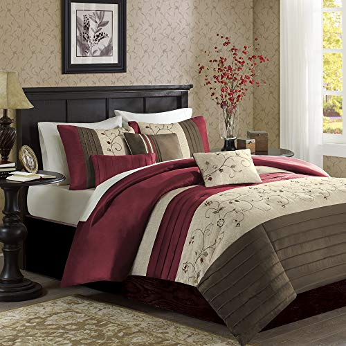 Madison Park Serene Bettwäsche-Set für King-Size-Bett, in Tasche, Grün Queen rot (Bett In Tasche-rot)
