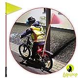 LUPILOOP – rot blinkende LED Fahrradwimpelstange   Fahrradfahne, Fahrradwimpel   Sicherheitsfahne für Fahrrad, Kinderrad, Dreirad, Buggy, Kettcar, Roller oder Rollstuhl   helles, rotes Blinklicht als Zusatz zum Fahrradlicht (Fahrradlampe) …