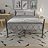 Metal 4FT6 Double Bed Frame Bedstead Base Platform In Black Bedroom Furniture