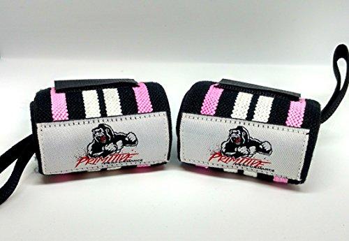 Pesi polsiere-regolabile in velcro e passante per pollice, ideale per CrossFit, powerlifting, bodybuilding, allenamento pesi e generale, Pink